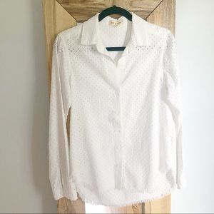 Anthro Cloth & Stone White Textured Button Down XS